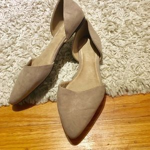 Taupe faux suede pointy d'orsay flats